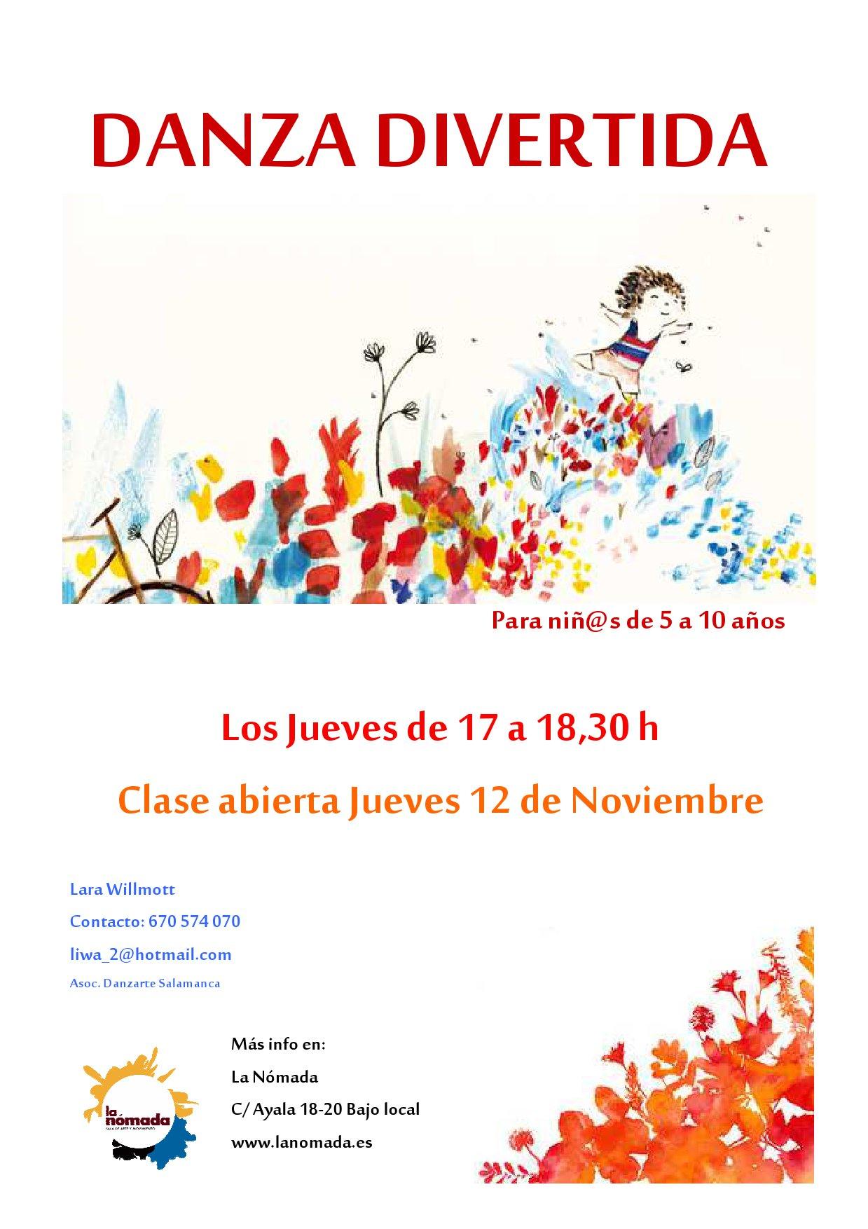 Clase Abierta de Danza Divertida, para niñ@s de 5 a 10 años.